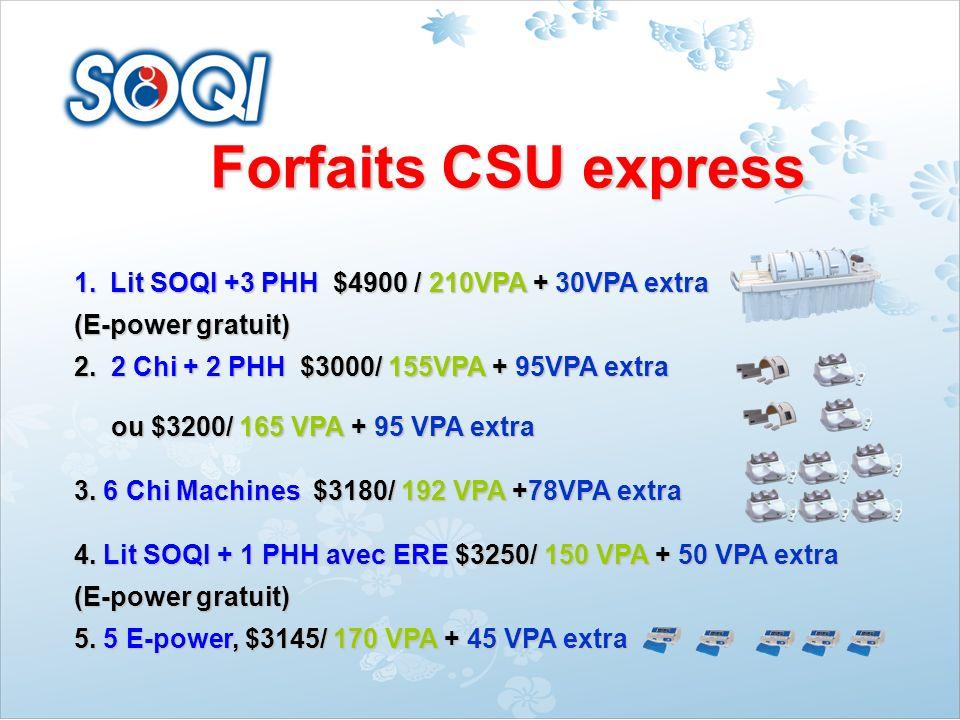 Forfaits CSU express 4.Grand lit SOQI + 3 GHH $5599 / 225 VPA + 47 VPA extra (E-power gratuite) 5.Grand lit SOQI + 1 GHH $3850/ 170 VPA + 40 VPA extra (E-power gratuite) (E-power gratuite)