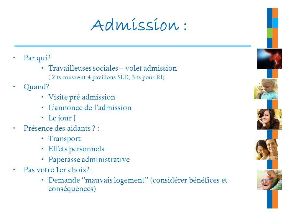 Admission : Par qui? Travailleuses sociales – volet admission ( 2 ts couvrent 4 pavillons SLD, 3 ts pour RI) Quand? Visite pré admission Lannonce de l