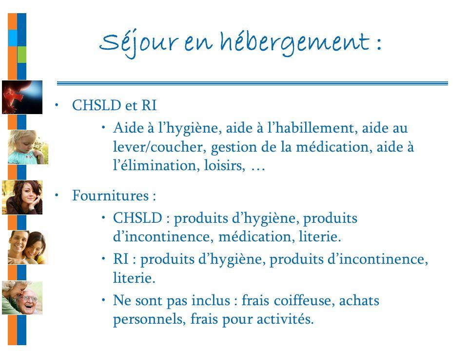 Séjour en hébergement : CHSLD et RI Aide à lhygiène, aide à lhabillement, aide au lever/coucher, gestion de la médication, aide à lélimination, loisir