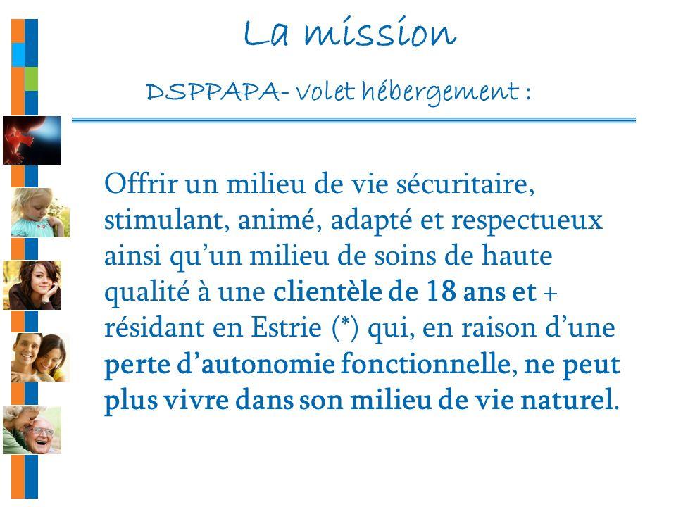 La mission DSPPAPA- volet hébergement : Offrir un milieu de vie sécuritaire, stimulant, animé, adapté et respectueux ainsi quun milieu de soins de hau