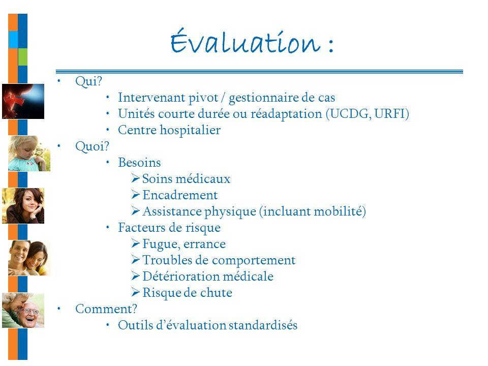 Évaluation : Qui? Intervenant pivot / gestionnaire de cas Unités courte durée ou réadaptation (UCDG, URFI) Centre hospitalier Quoi? Besoins Soins médi