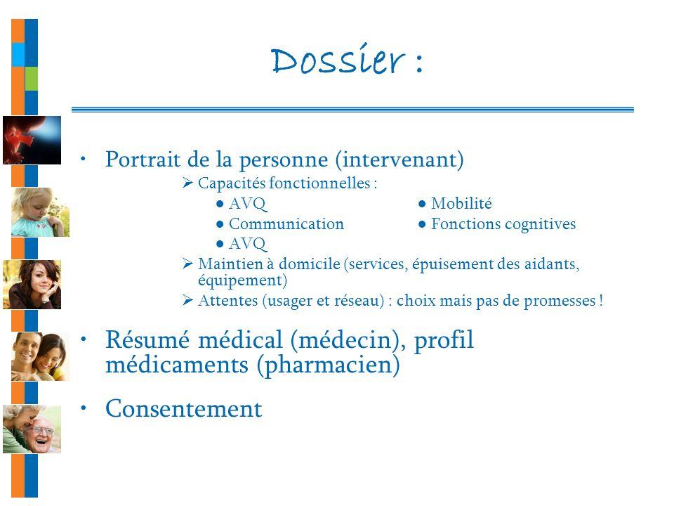 Dossier : Portrait de la personne (intervenant) Capacités fonctionnelles : AVQ Mobilité Communication Fonctions cognitives AVQ Maintien à domicile (se