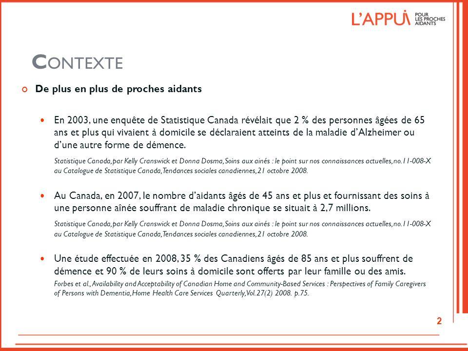 C ONTEXTE De plus en plus de proches aidants En 2003, une enquête de Statistique Canada révélait que 2 % des personnes âgées de 65 ans et plus qui viv