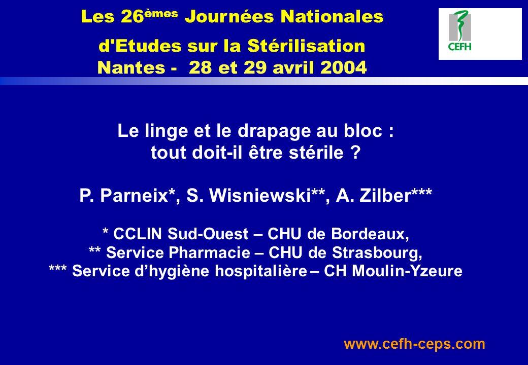 www.cefh-ceps.com Le linge et le drapage au bloc : tout doit-il être stérile ? P. Parneix*, S. Wisniewski**, A. Zilber*** * CCLIN Sud-Ouest – CHU de B