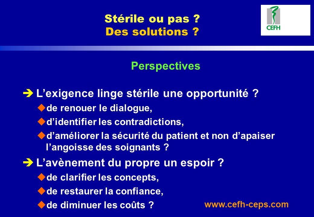 www.cefh-ceps.com Stérile ou pas ? Des solutions ? Perspectives è Lexigence linge stérile une opportunité ? ude renouer le dialogue, udidentifier les