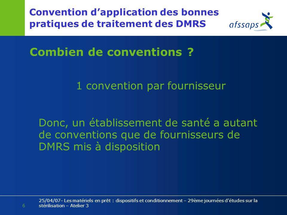 6 25/04/07– Les matériels en prêt : dispositifs et conditionnement – 29ème journées détudes sur la stérilisation – Atelier 3 Convention dapplication d