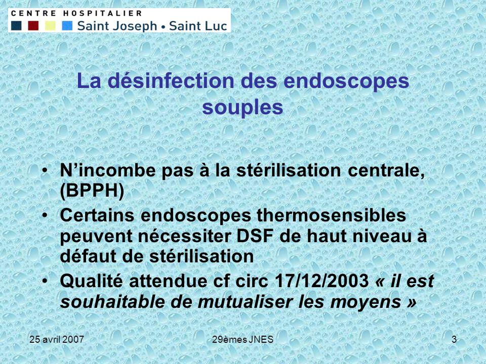 25 avril 200729èmes JNES3 La désinfection des endoscopes souples Nincombe pas à la stérilisation centrale, (BPPH) Certains endoscopes thermosensibles