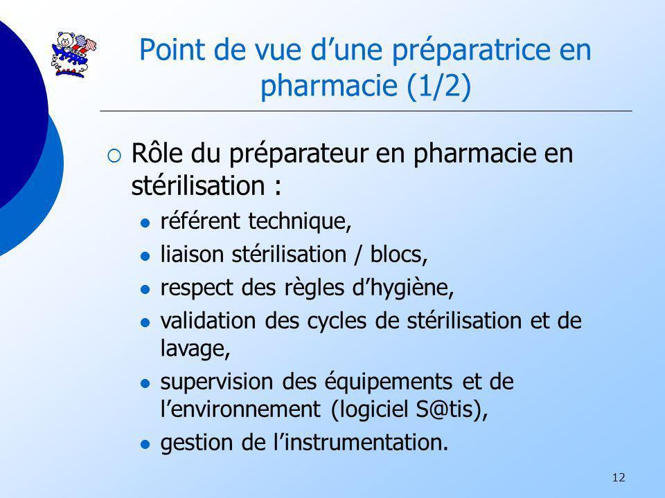 12 Point de vue dune préparatrice en pharmacie (1/2) Rôle du préparateur en pharmacie en stérilisation : référent technique, liaison stérilisation / b