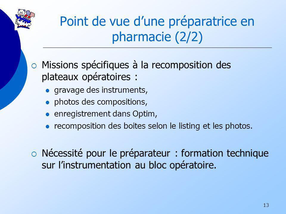 13 Point de vue dune préparatrice en pharmacie (2/2) Missions spécifiques à la recomposition des plateaux opératoires : gravage des instruments, photo