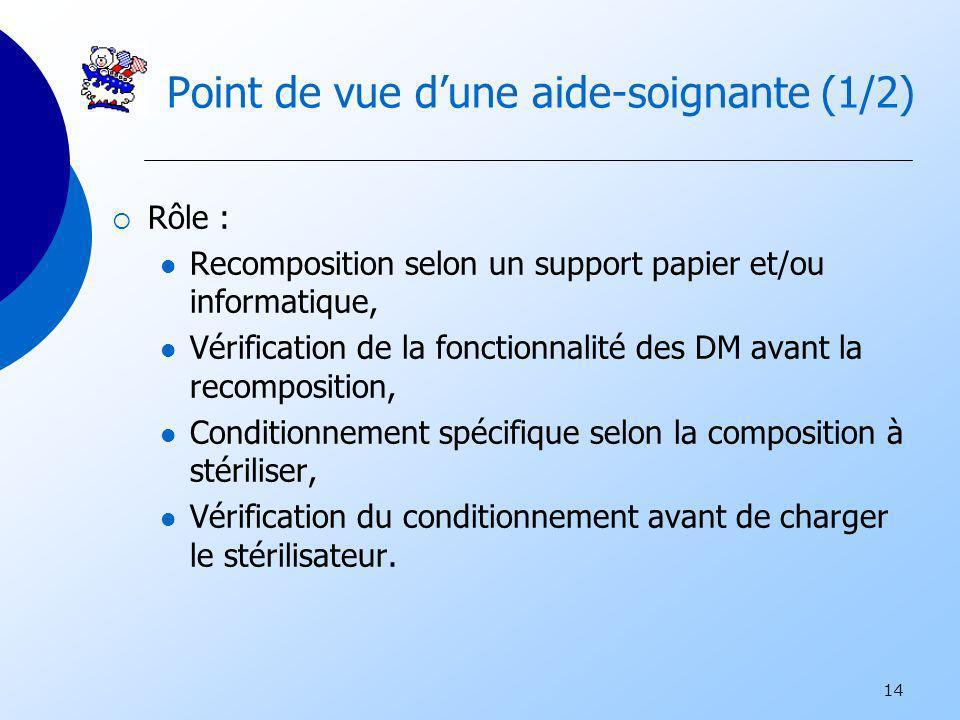 14 Point de vue dune aide-soignante (1/2) Rôle : Recomposition selon un support papier et/ou informatique, Vérification de la fonctionnalité des DM av