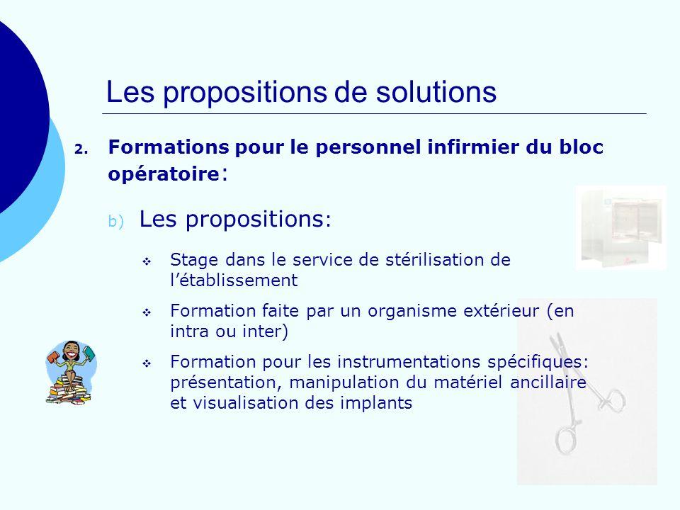 Les propositions de solutions 2. Formations pour le personnel infirmier du bloc opératoire : b) Les propositions : Stage dans le service de stérilisat