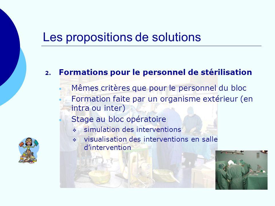 Les propositions de solutions 2. Formations pour le personnel de stérilisation Mêmes critères que pour le personnel du bloc Formation faite par un org