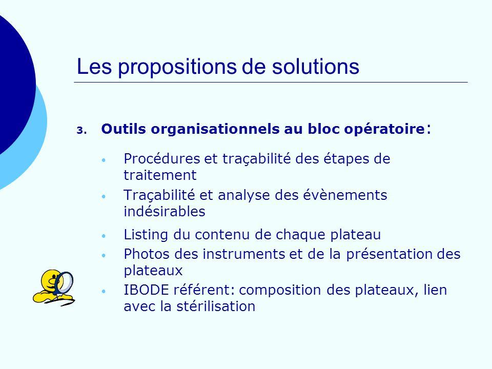 Les propositions de solutions 3. Outils organisationnels au bloc opératoire : Procédures et traçabilité des étapes de traitement Traçabilité et analys