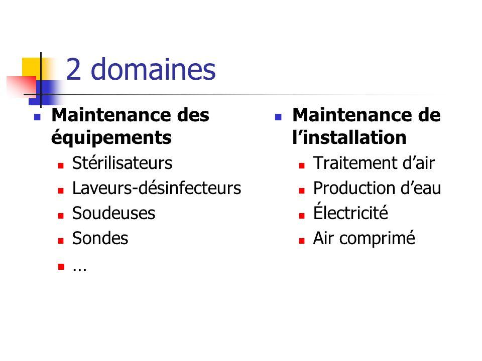 2 domaines Maintenance des équipements Stérilisateurs Laveurs-désinfecteurs Soudeuses Sondes … Maintenance de linstallation Traitement dair Production