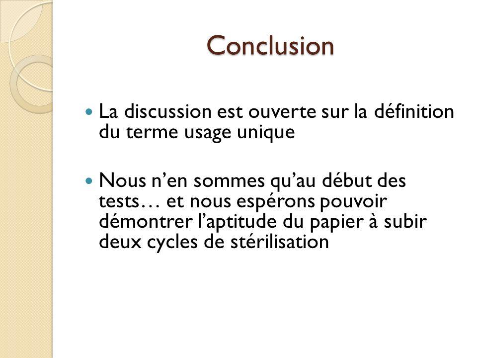 Conclusion La discussion est ouverte sur la définition du terme usage unique Nous nen sommes quau début des tests… et nous espérons pouvoir démontrer