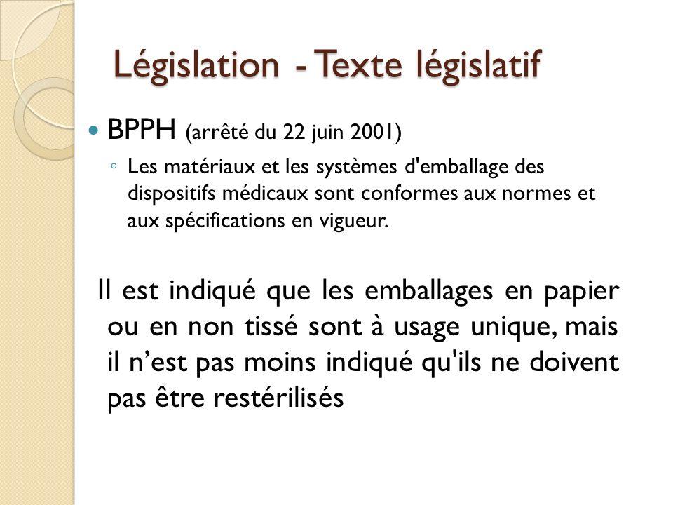 Législation - Texte législatif BPPH (arrêté du 22 juin 2001) Les matériaux et les systèmes d'emballage des dispositifs médicaux sont conformes aux nor