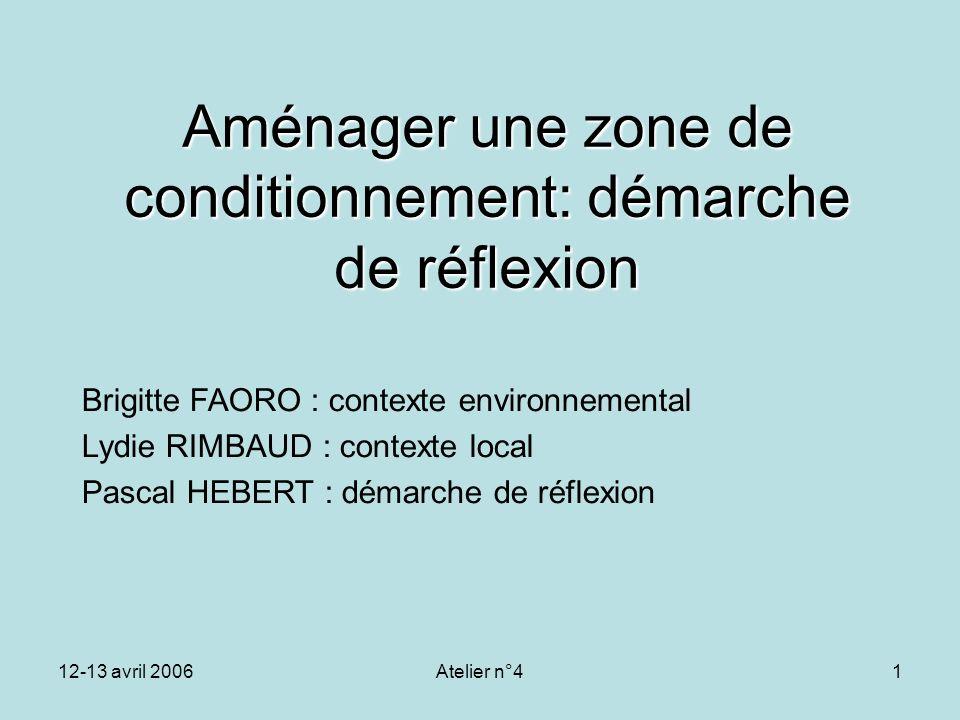 12-13 avril 2006Atelier n°41 Aménager une zone de conditionnement: démarche de réflexion Brigitte FAORO : contexte environnemental Lydie RIMBAUD : con