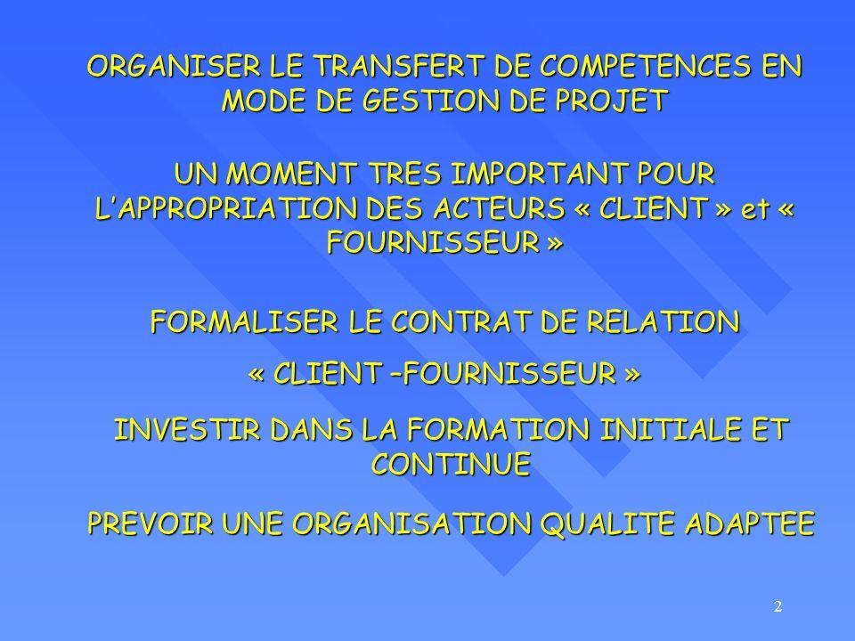 2 ORGANISER LE TRANSFERT DE COMPETENCES EN MODE DE GESTION DE PROJET UN MOMENT TRES IMPORTANT POUR LAPPROPRIATION DES ACTEURS « CLIENT » et « FOURNISSEUR » FORMALISER LE CONTRAT DE RELATION « CLIENT –FOURNISSEUR » INVESTIR DANS LA FORMATION INITIALE ET CONTINUE PREVOIR UNE ORGANISATION QUALITE ADAPTEE