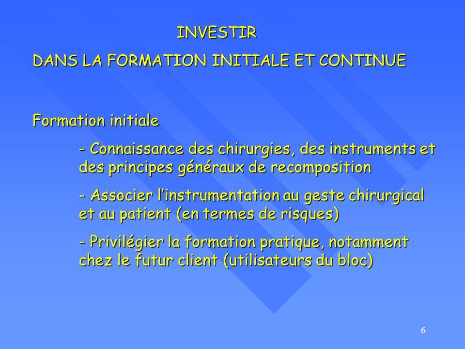 6 Formation initiale - Connaissance des chirurgies, des instruments et des principes généraux de recomposition - Associer linstrumentation au geste ch