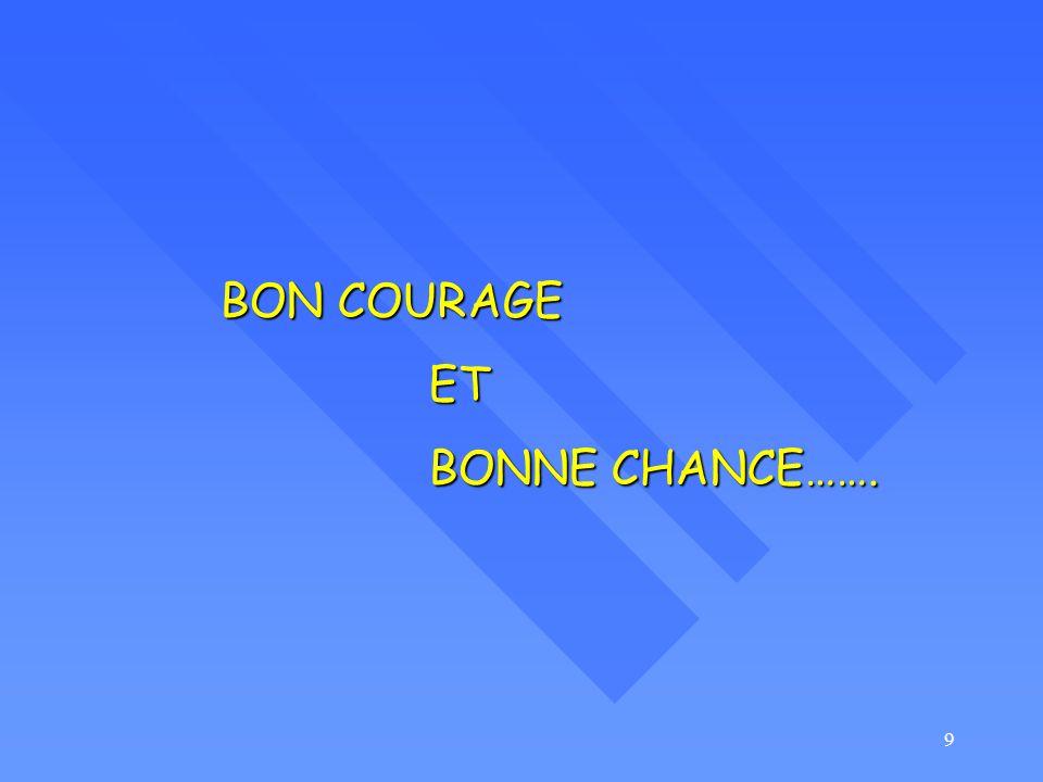 9 BON COURAGE ET BONNE CHANCE…….