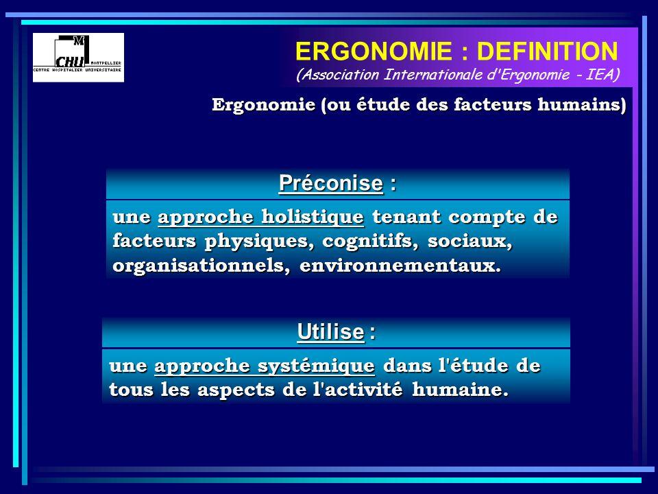 Utilise : une approche systémique dans l'étude de tous les aspects de l'activité humaine. ERGONOMIE : DEFINITION (Association Internationale d'Ergonom