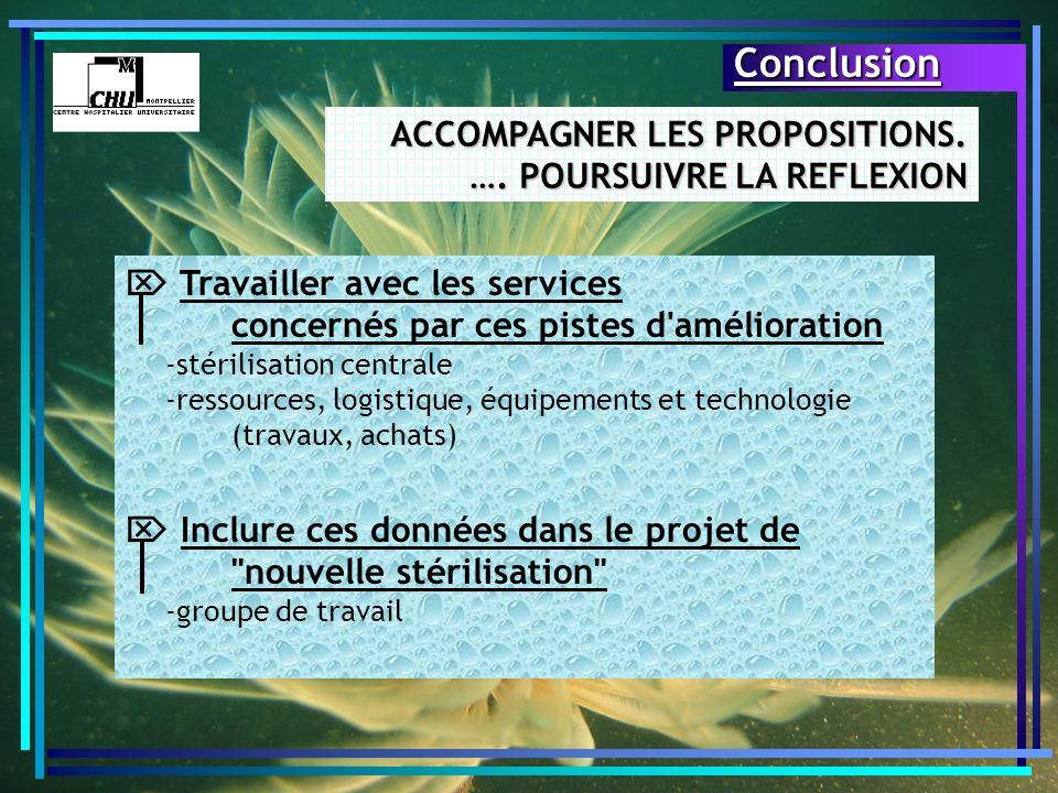 ACCOMPAGNER LES PROPOSITIONS. …. POURSUIVRE LA REFLEXION Conclusion Travailler avec les services concernés par ces pistes d'amélioration -stérilisatio