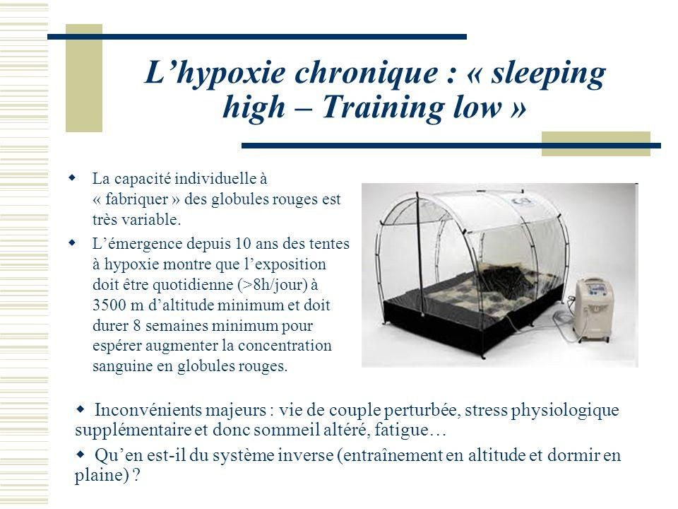 Lhypoxie chronique : « sleeping high – Training low » La capacité individuelle à « fabriquer » des globules rouges est très variable.