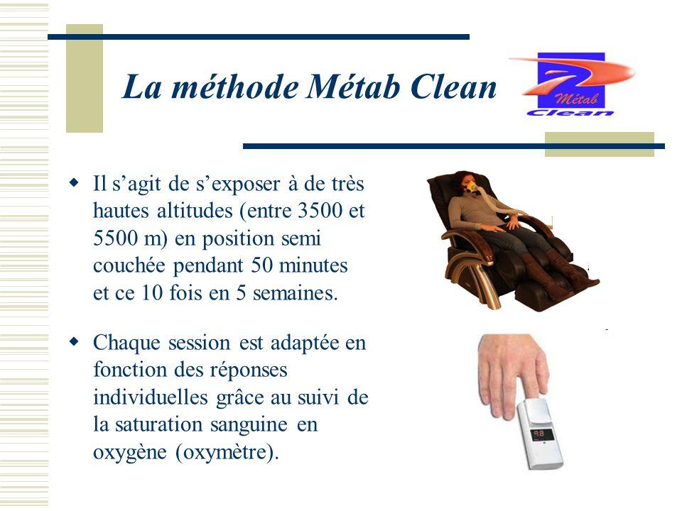La méthode Métab Clean Il sagit de sexposer à de très hautes altitudes (entre 3500 et 5500 m) en position semi couchée pendant 50 minutes et ce 10 fois en 5 semaines.