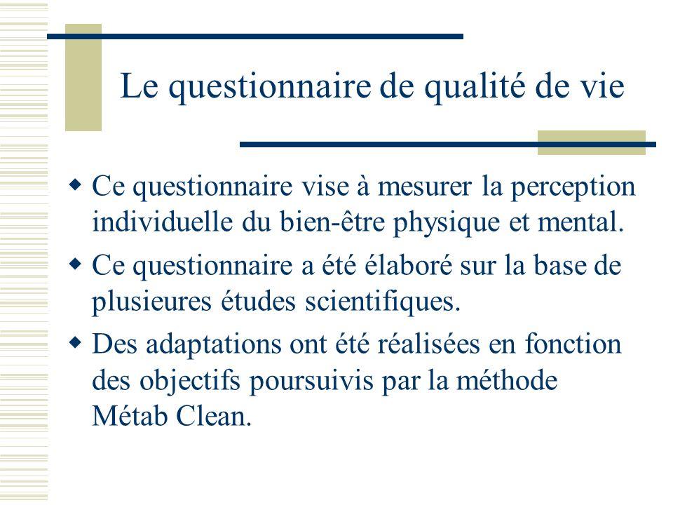 Le questionnaire de qualité de vie Ce questionnaire vise à mesurer la perception individuelle du bien-être physique et mental.