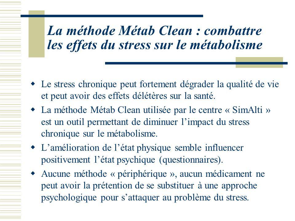 La méthode Métab Clean : combattre les effets du stress sur le métabolisme Le stress chronique peut fortement dégrader la qualité de vie et peut avoir des effets délétères sur la santé.