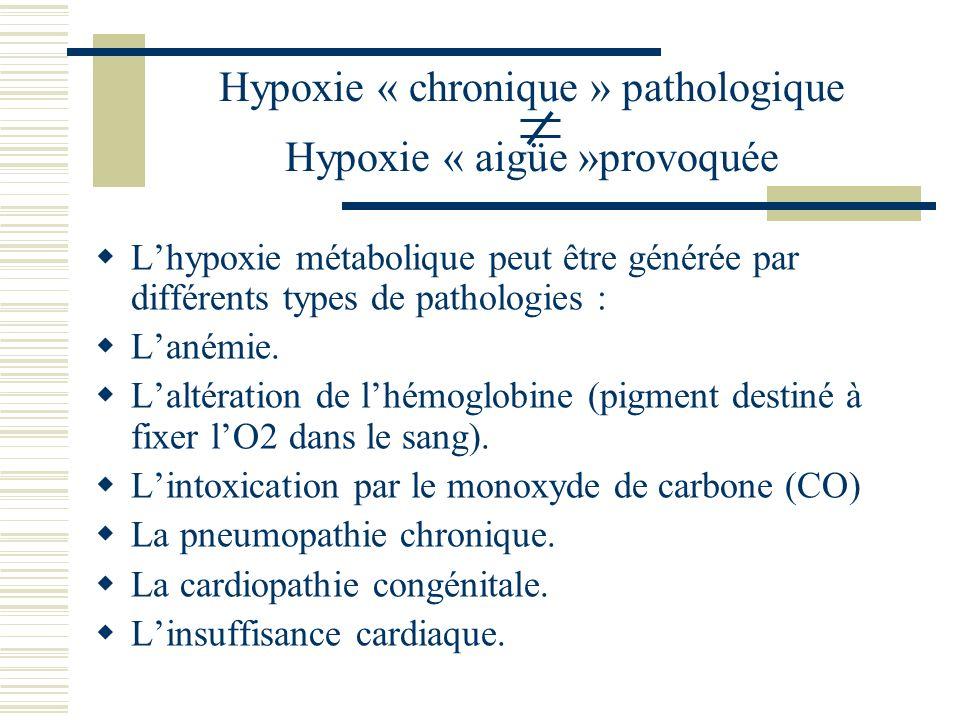 Lhypoxie « aigüe » provoquée par laltitude simulée.