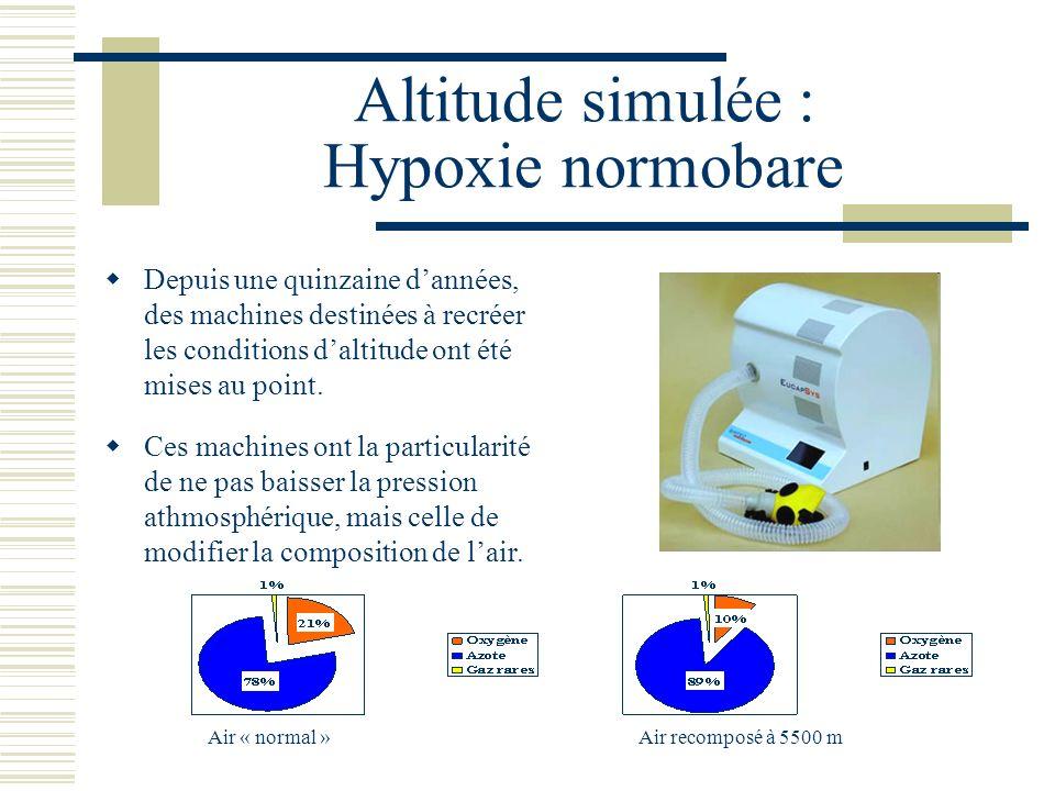 Altitude simulée : Hypoxie normobare Depuis une quinzaine dannées, des machines destinées à recréer les conditions daltitude ont été mises au point.