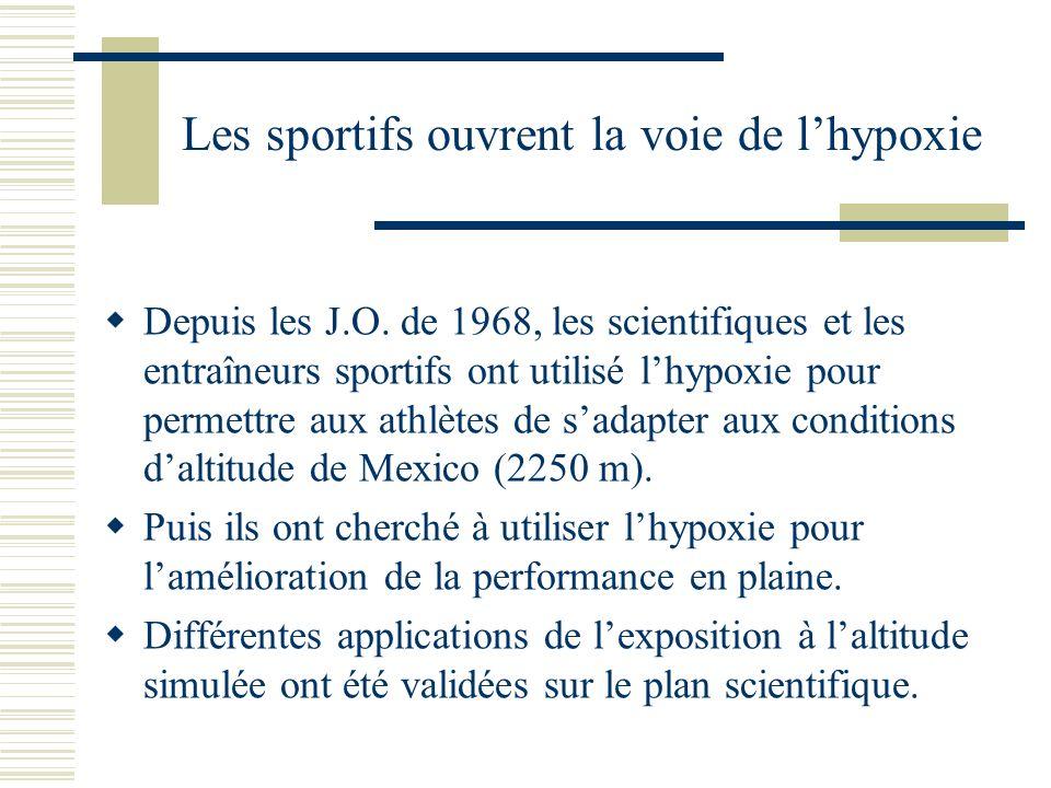 Lhypoxie chronique : « sleeping high – Training low » Levin et Stray-Gundersen, 1997 ont proposé un modèle dutilisation de lhypoxie qui consiste à sentraîner à basse altitude et à dormir en moyenne altitude (2500 m).