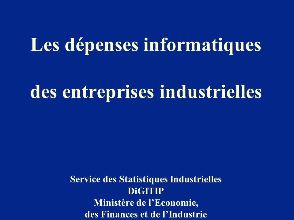 Les dépenses informatiques des entreprises industrielles Service des Statistiques Industrielles DiGITIP Ministère de lEconomie, des Finances et de lIn