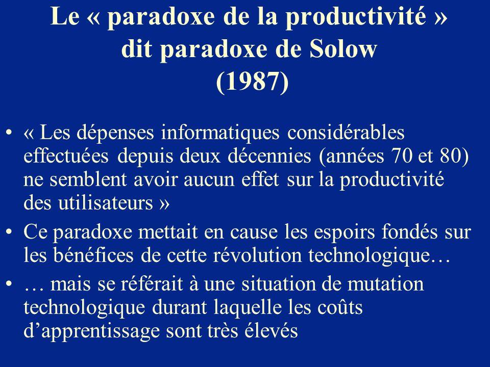 Le « paradoxe de la productivité » dit paradoxe de Solow (1987) « Les dépenses informatiques considérables effectuées depuis deux décennies (années 70