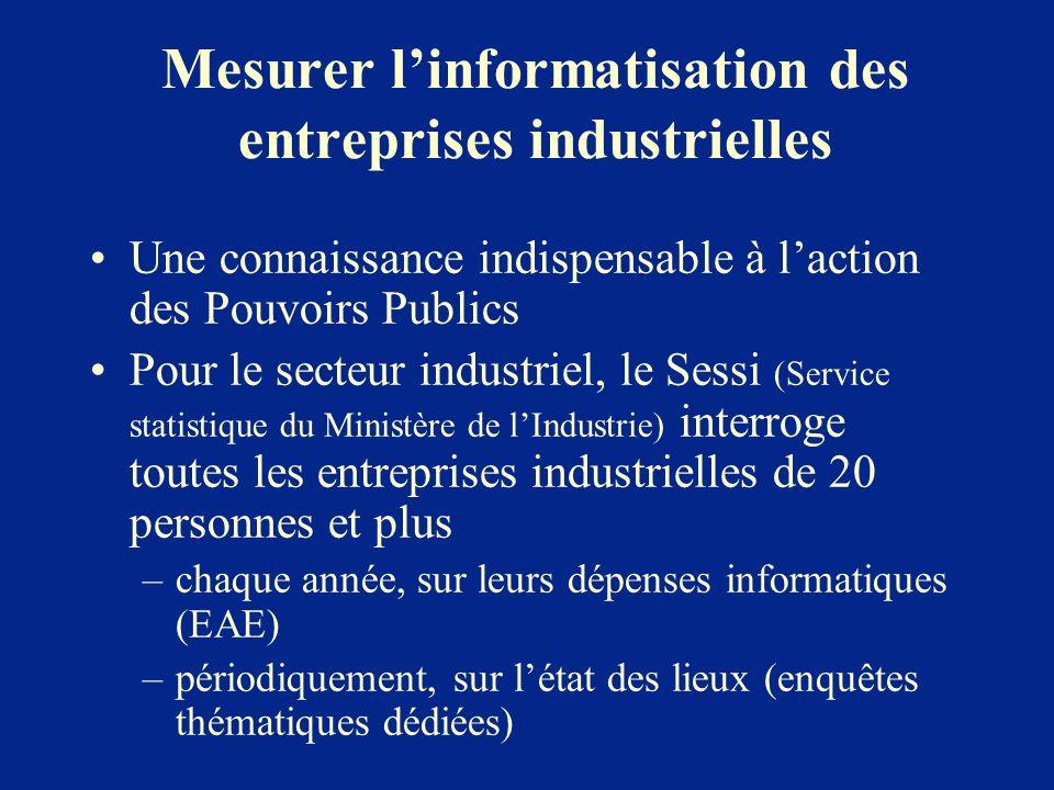 Mesurer linformatisation des entreprises industrielles Une connaissance indispensable à laction des Pouvoirs Publics Pour le secteur industriel, le Se