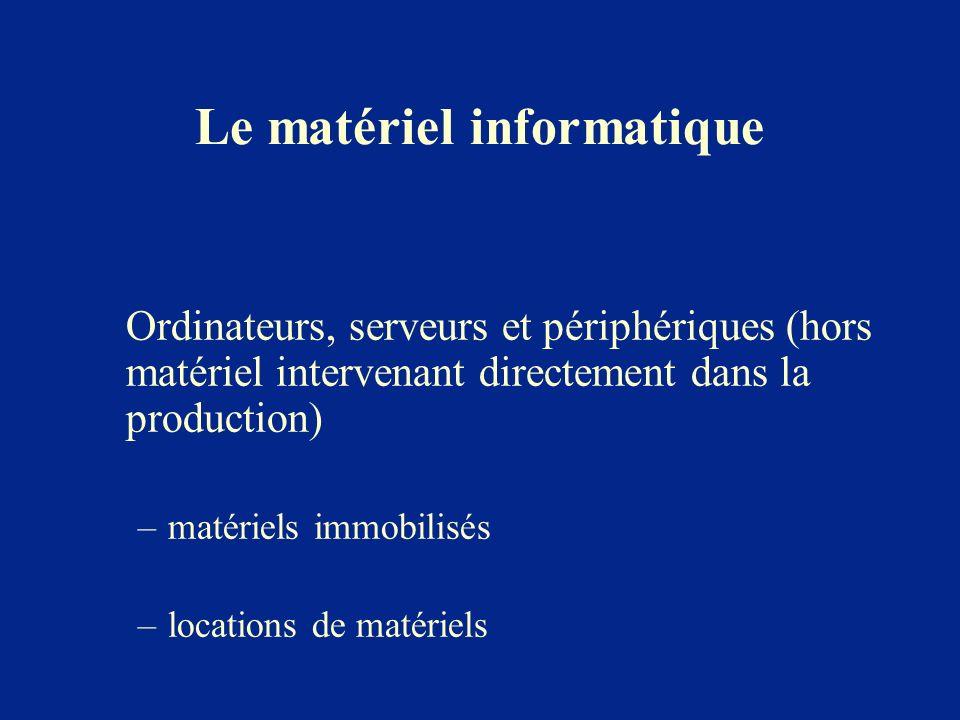 Le matériel informatique Ordinateurs, serveurs et périphériques (hors matériel intervenant directement dans la production) –matériels immobilisés –loc