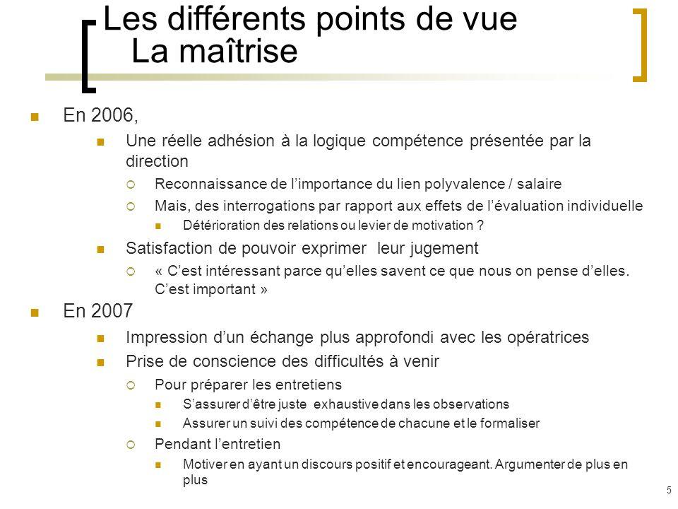 6 Les différents points de vue Les opératrices En 2006 La perspective des entretiens individuels fait craindre une détérioration des relations individuelles.