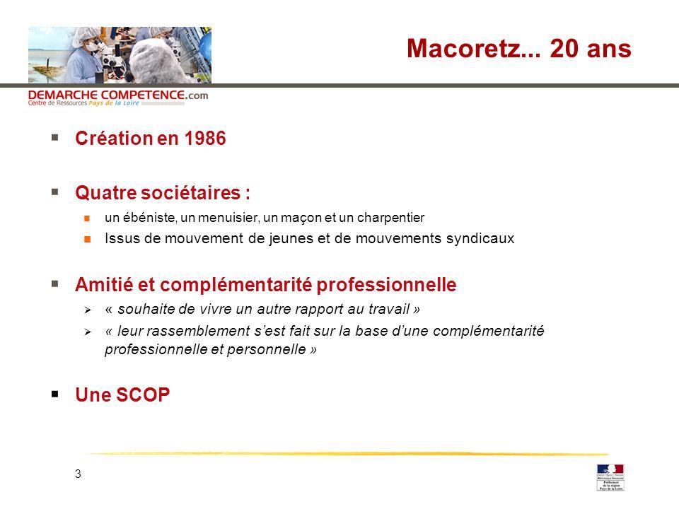 3 Macoretz... 20 ans Création en 1986 Quatre sociétaires : un ébéniste, un menuisier, un maçon et un charpentier Issus de mouvement de jeunes et de mo