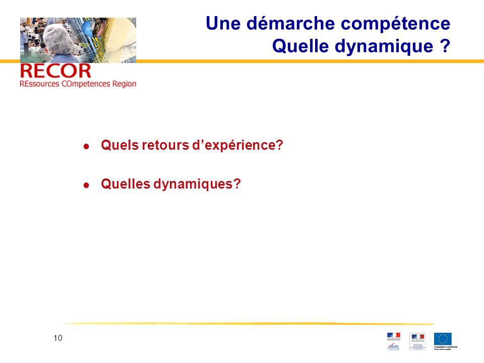 10 Une démarche compétence Quelle dynamique ? l Quels retours dexpérience? l Quelles dynamiques?