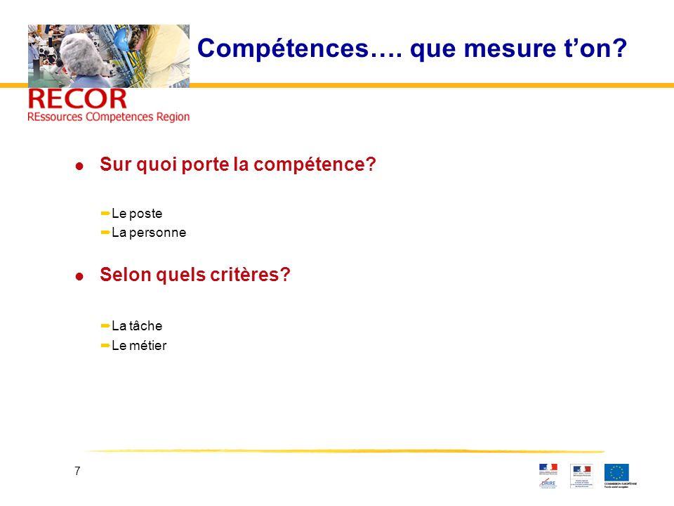 7 Compétences…. que mesure ton? l Sur quoi porte la compétence? Le poste La personne l Selon quels critères? La tâche Le métier
