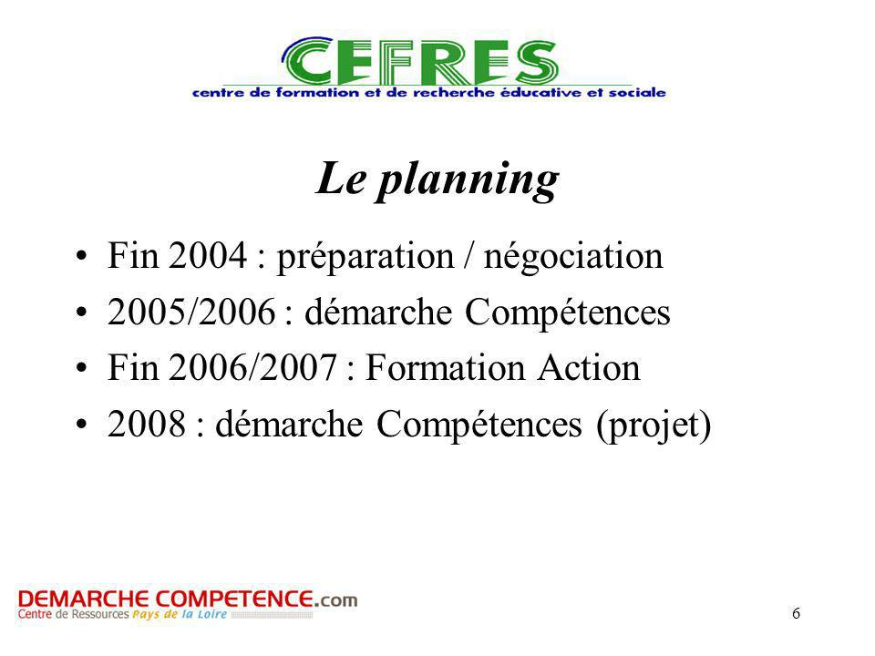 6 Le planning Fin 2004 : préparation / négociation 2005/2006 : démarche Compétences Fin 2006/2007 : Formation Action 2008 : démarche Compétences (projet)