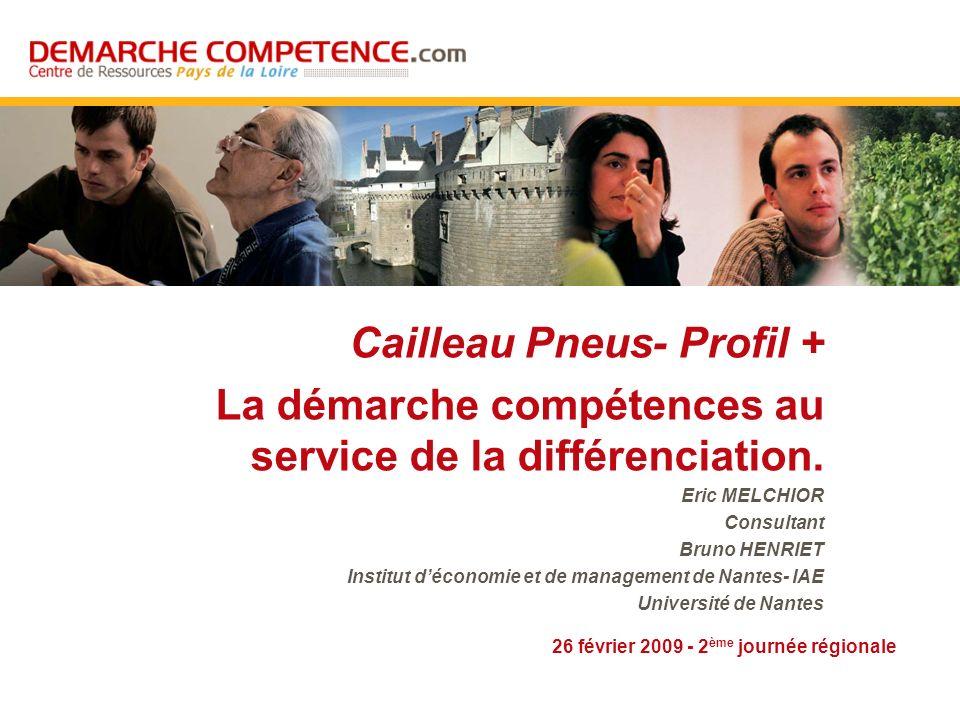 26 février 2009 - 2 ème journée régionale Cailleau Pneus- Profil + La démarche compétences au service de la différenciation. Eric MELCHIOR Consultant