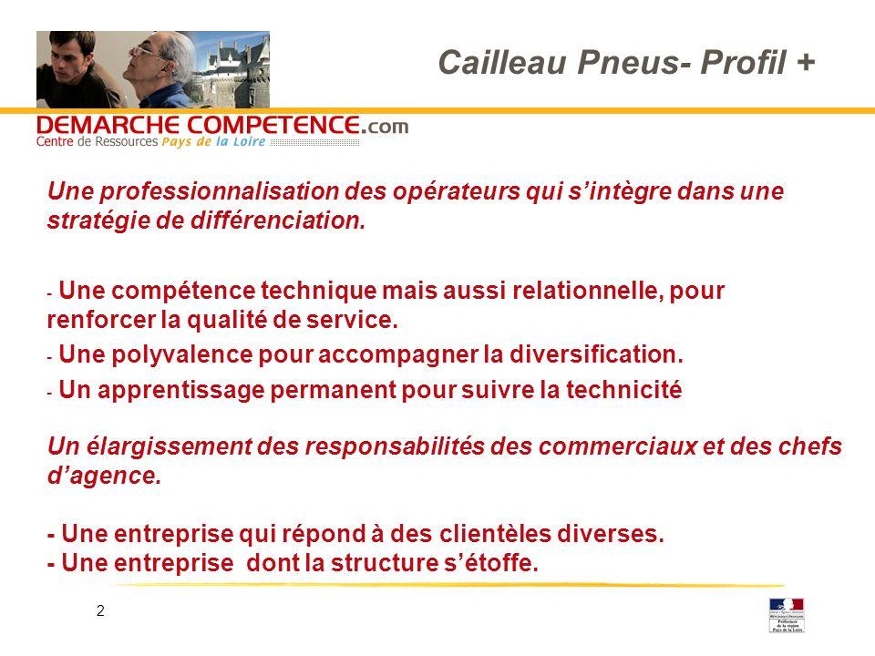 2 Cailleau Pneus- Profil + Une professionnalisation des opérateurs qui sintègre dans une stratégie de différenciation. - Une compétence technique mais