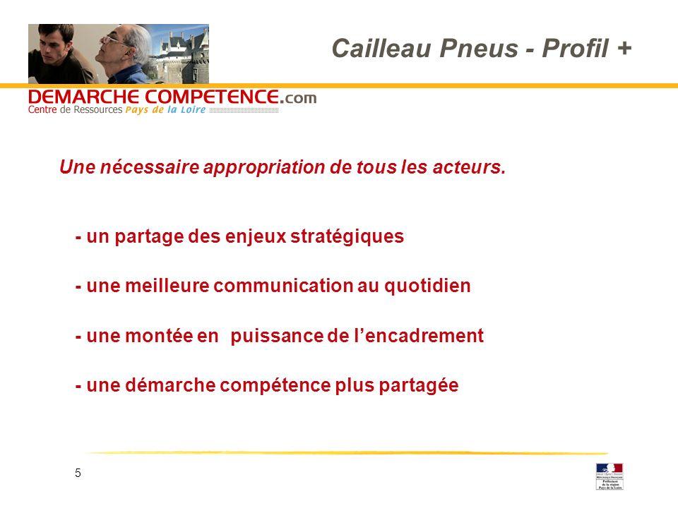 5 Cailleau Pneus - Profil + - un partage des enjeux stratégiques - une meilleure communication au quotidien - une montée en puissance de lencadrement