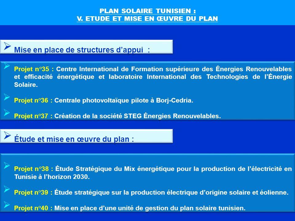 PLAN SOLAIRE TUNISIEN : V. ETUDE ET MISE EN ŒUVRE DU PLAN Projet n°35 : Centre International de Formation supérieure des Énergies Renouvelables et eff