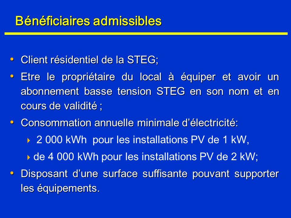 Bénéficiaires admissibles Client résidentiel de la STEG; Client résidentiel de la STEG; Etre le propriétaire du local à équiper et avoir un abonnement