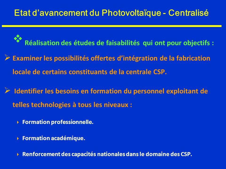 Etat davancement du Photovoltaïque - Centralisé Examiner les possibilités offertes dintégration de la fabrication locale de certains constituants de l