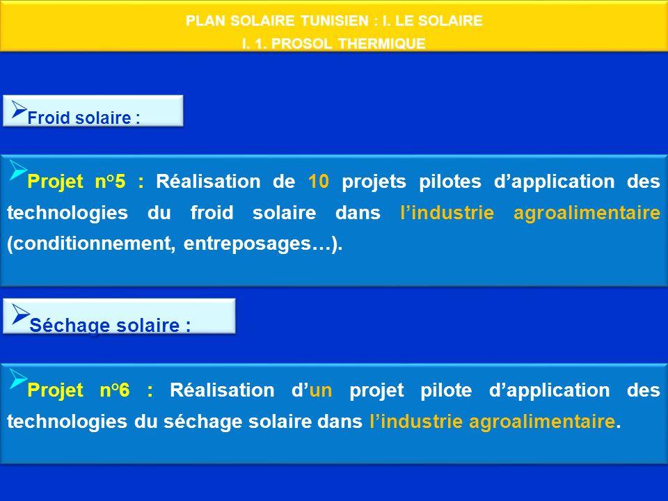 PLAN SOLAIRE TUNISIEN : I. LE SOLAIRE I. 1. PROSOL THERMIQUE PLAN SOLAIRE TUNISIEN : I. LE SOLAIRE I. 1. PROSOL THERMIQUE Froid solaire : Projet n°5 :