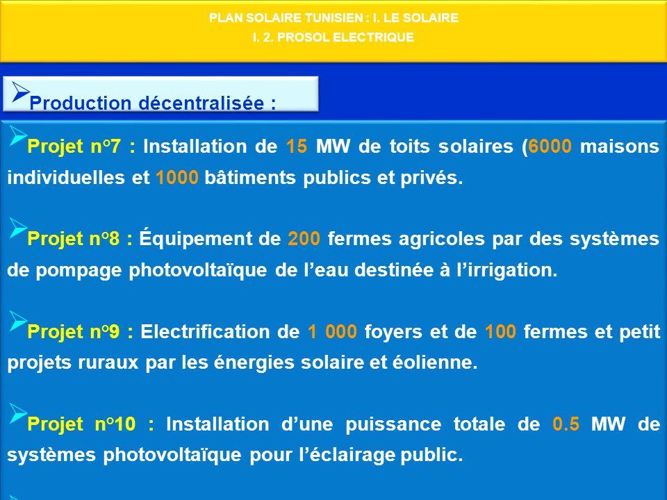 PLAN SOLAIRE TUNISIEN : I. LE SOLAIRE I. 2. PROSOL ELECTRIQUE PLAN SOLAIRE TUNISIEN : I. LE SOLAIRE I. 2. PROSOL ELECTRIQUE Production décentralisée :